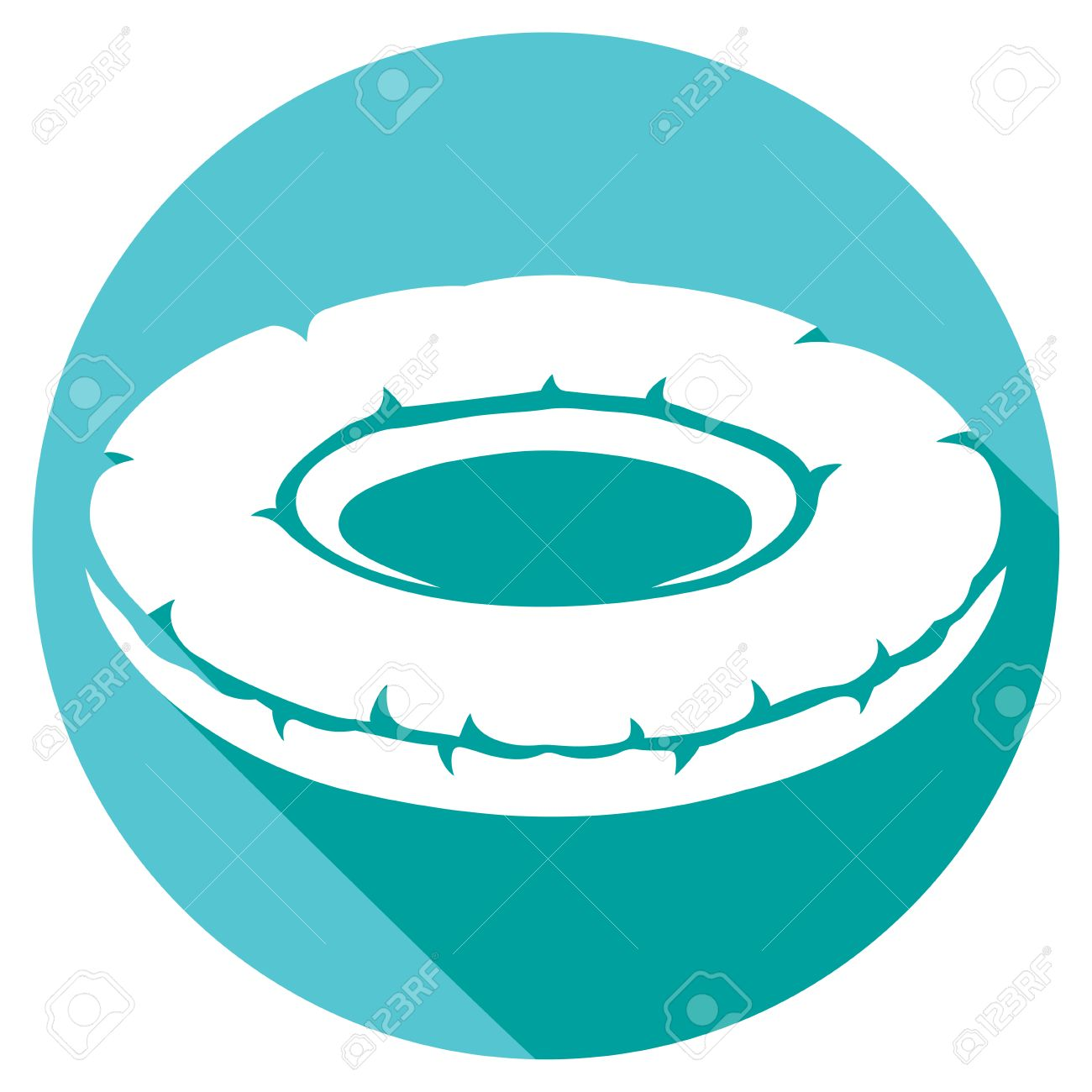 Inflatable Inner Tube Flat Icon (floater, Swimming Tire, Floating.