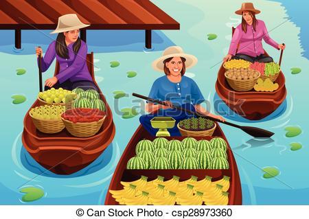 Floating market Stock Illustrations. 724 Floating market clip art.