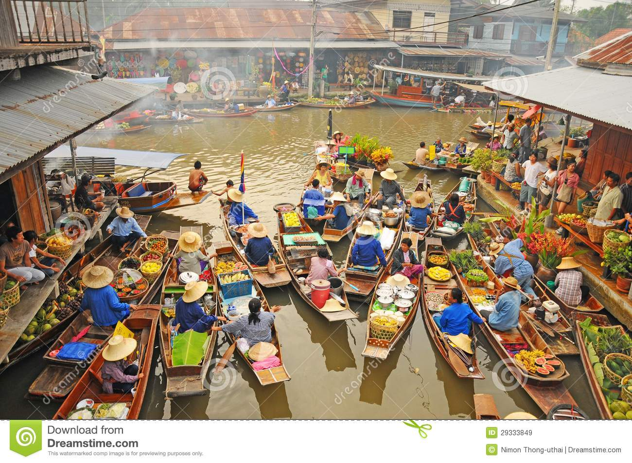 View Of Amphawa Floating Market, Amphawa, Thailand Editorial Stock.
