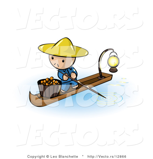 Vector of Cartoon Oriental Guy in a Floating Market Boat with.