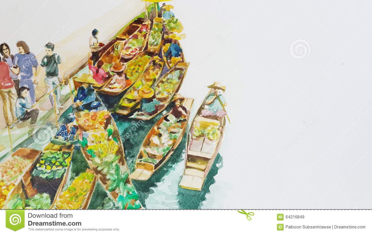 Floating Market Paint Stock Photo.