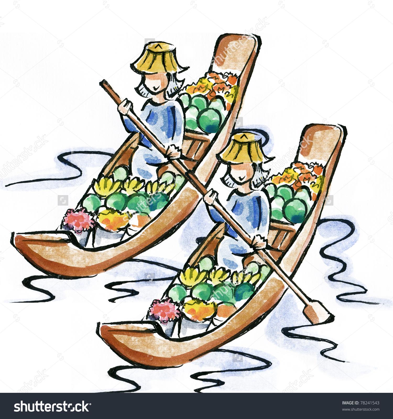 Floating Market Stock Illustration 78241543.