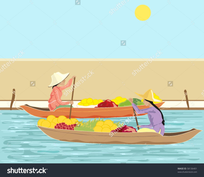 Vector Illustration Two Thai Women Boats Stock Vector 58136401.