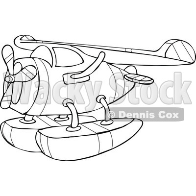 Outlined Cartoon Seaplane.