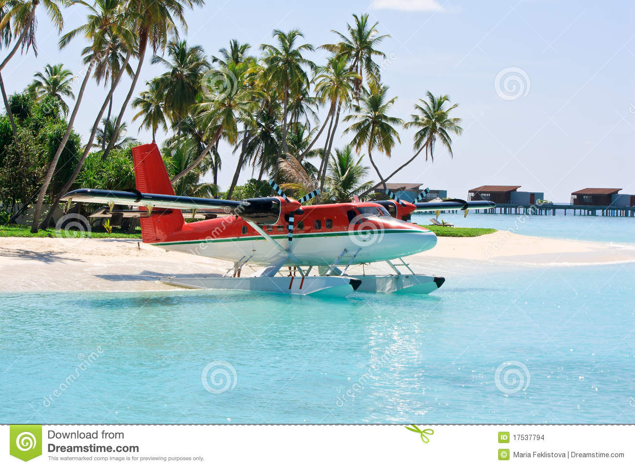 Seaplane Near Tropical Island Stock Images.