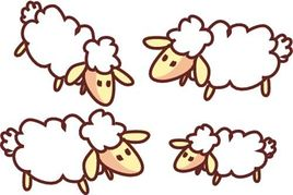 Flock of sheep clipart.
