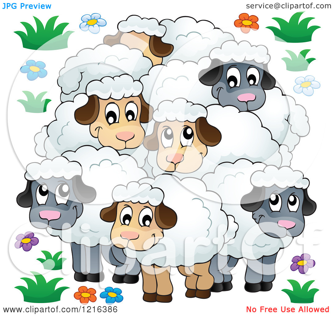 Clipart of a Happy Flock of Sheep.