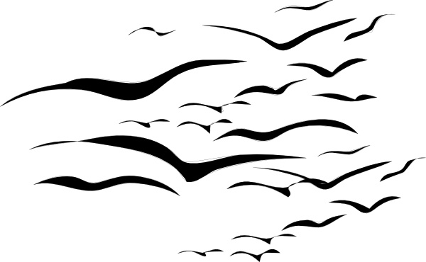 Flock Of Birds clip art Free vector in Open office drawing svg.