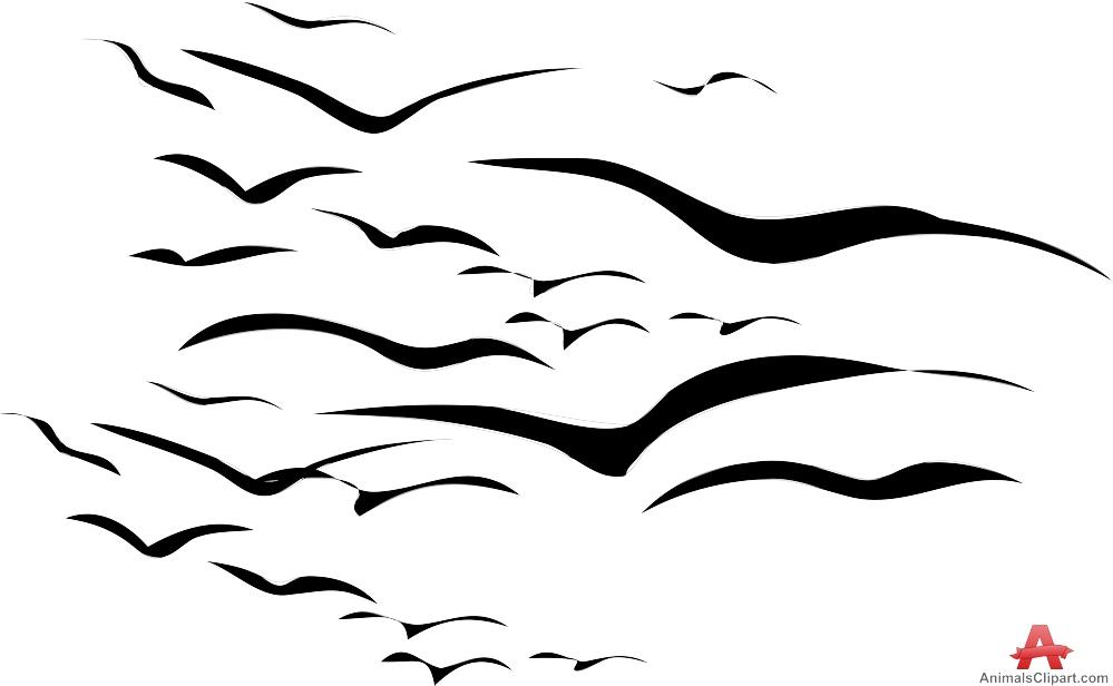Flock of Flying Birds.