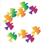 Flock of colorful birds on a.