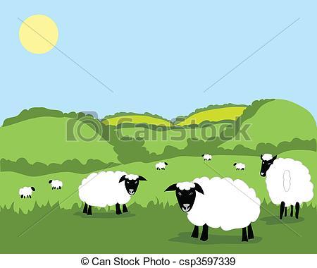 Flocks sheep clipart.