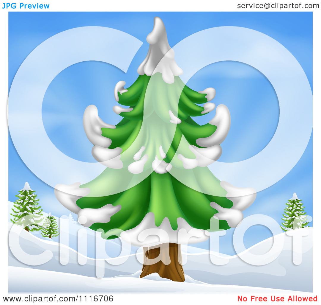Vector Clipart Of A Christmas Scene Of A Flocked Evergreen Tree In.