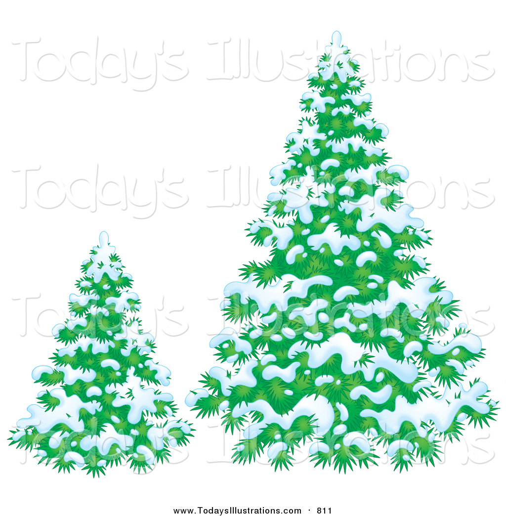 Clipart of Evergreen Trees Flocked in Snow on a Winter Day by Alex.