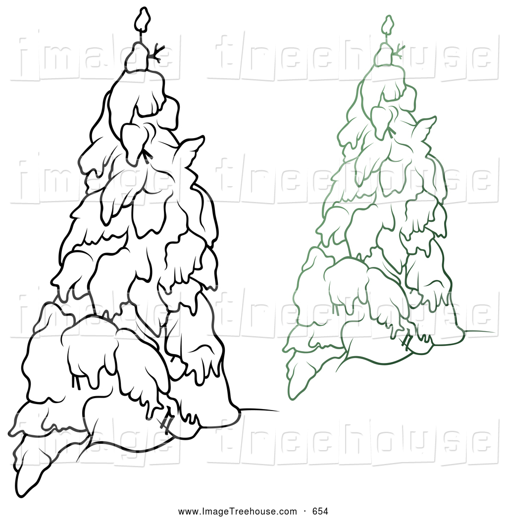 Clipart of Black and White and Colored Snow Flocked Evergreen.