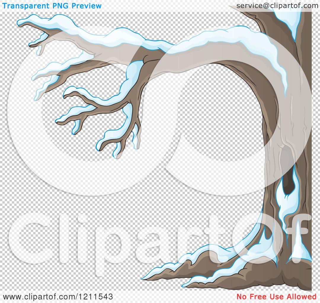 Cartoon of a Winter Tree Flocked in Snow.
