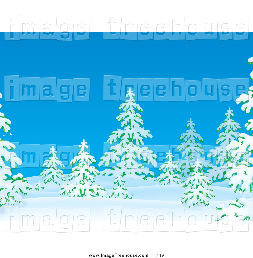 Clipart of Flocked Evergreen Trees in Snow on a Winter Day by Alex.