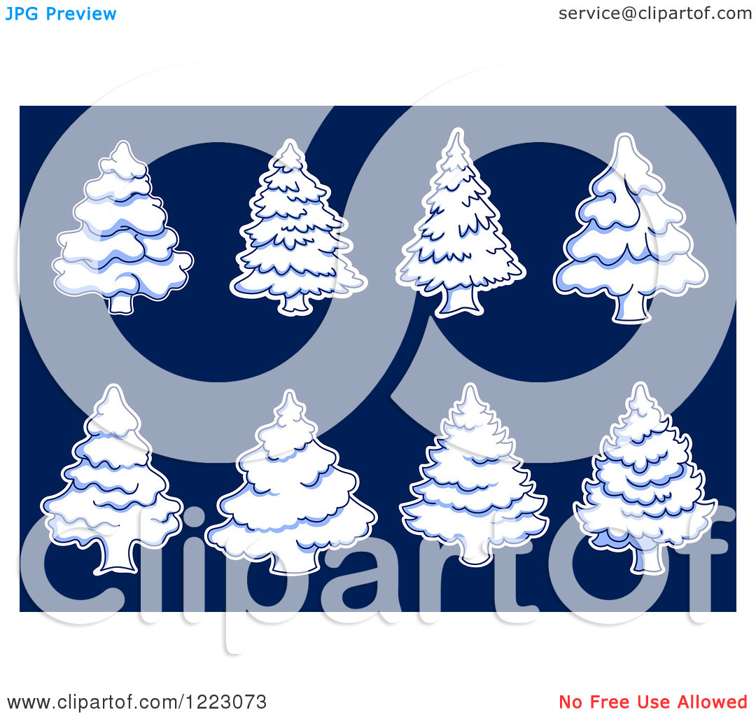 Clipart of Snow Flocked Evergreen Christmas Trees on Blue.