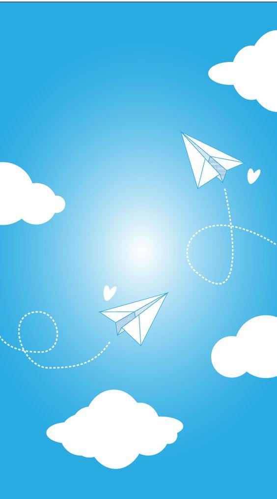 Paper Planes Clouds iPhone Wallpaper Lock Screen Blue @PanPins.