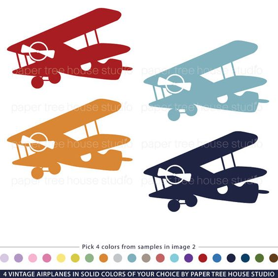 Vintage Airplane Clip Art Customized With Your Choice of Colors.