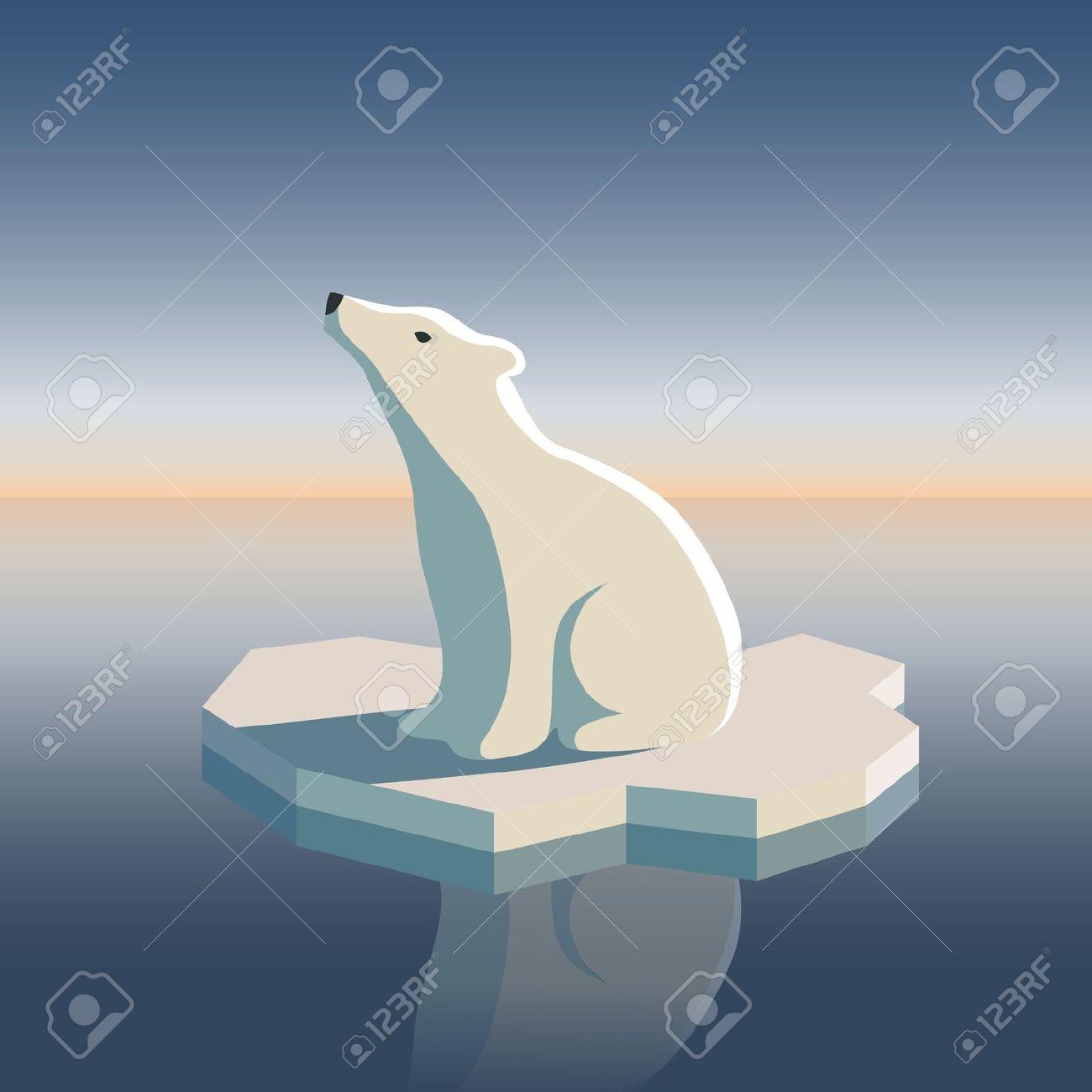 Polar bear on ice clipart.