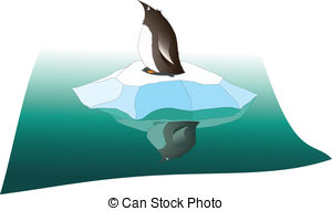 Vector Clipart of Penguins on an ice floe.