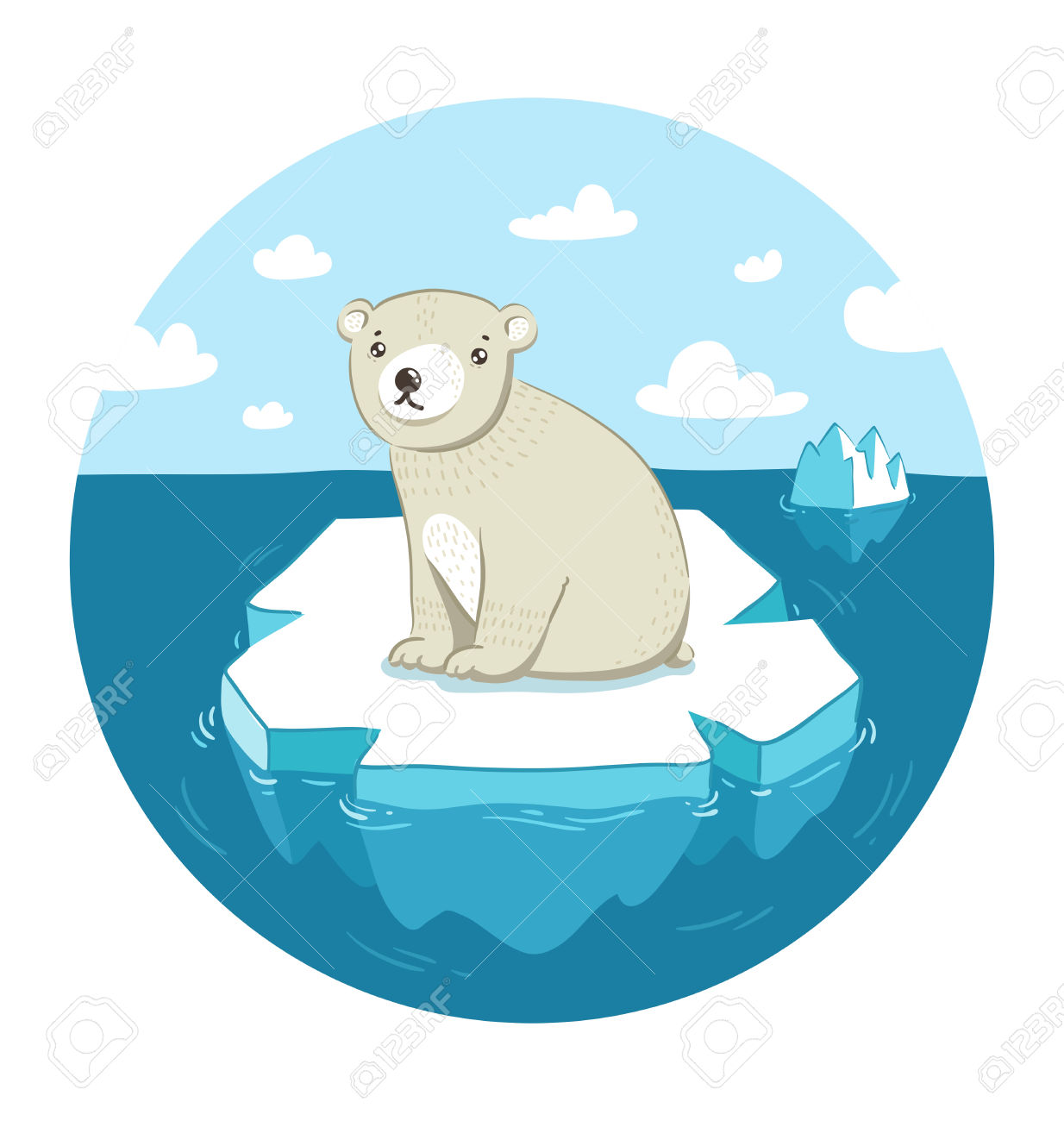 Sad Polar Bear Sitting On Ice Floe Royalty Free Cliparts, Vectors.
