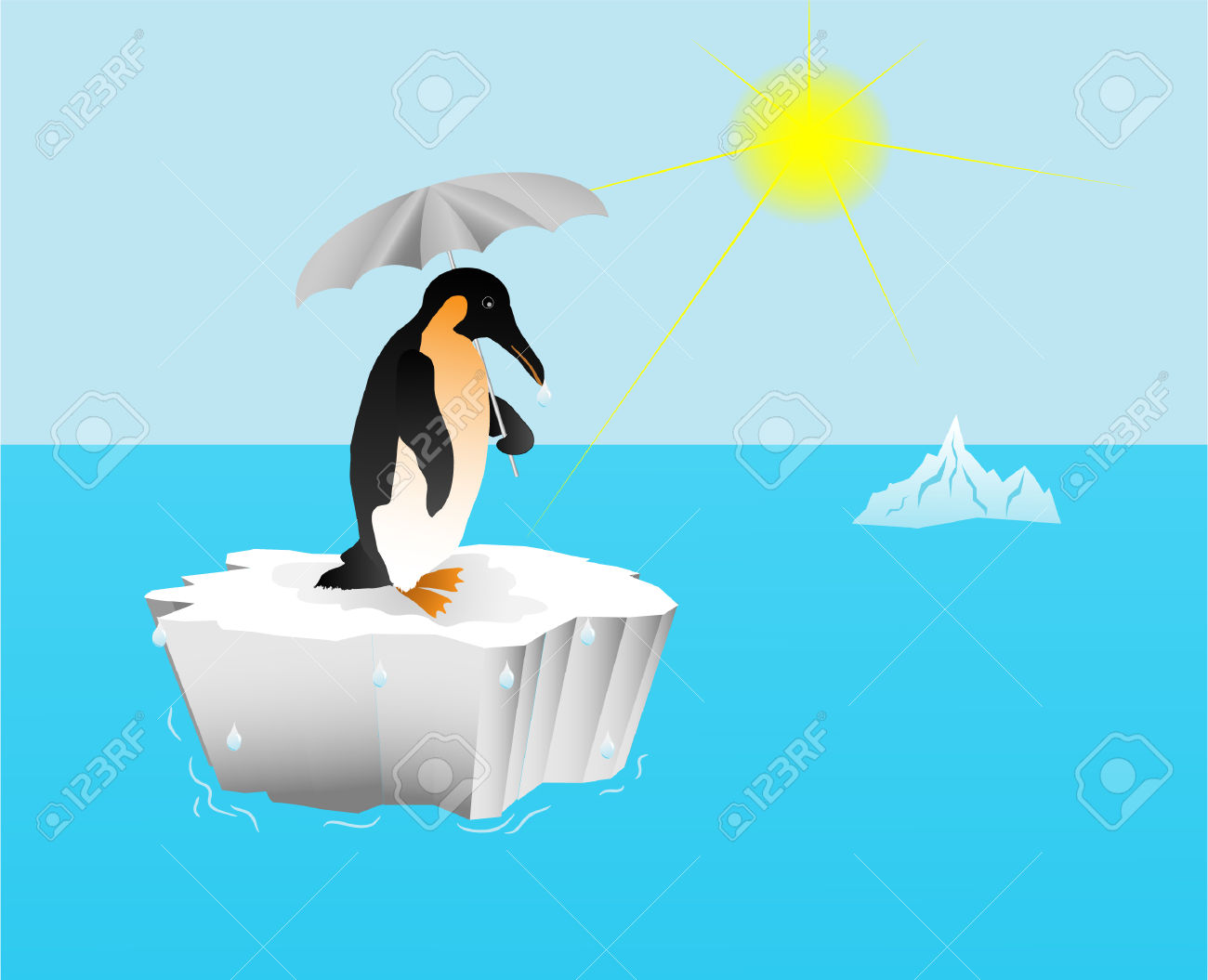 Penguin With An Umbrella On An Ice Floe; Global Warming Royalty.