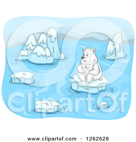 Clipart of a Lonely Polar Bear Surrounded by Melting Ice Floes.