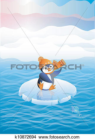 Clipart of Penguin on ice floes k10872694.