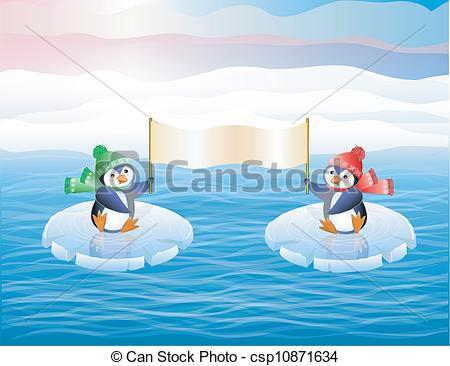 Vectors of Penguins on ice floes.