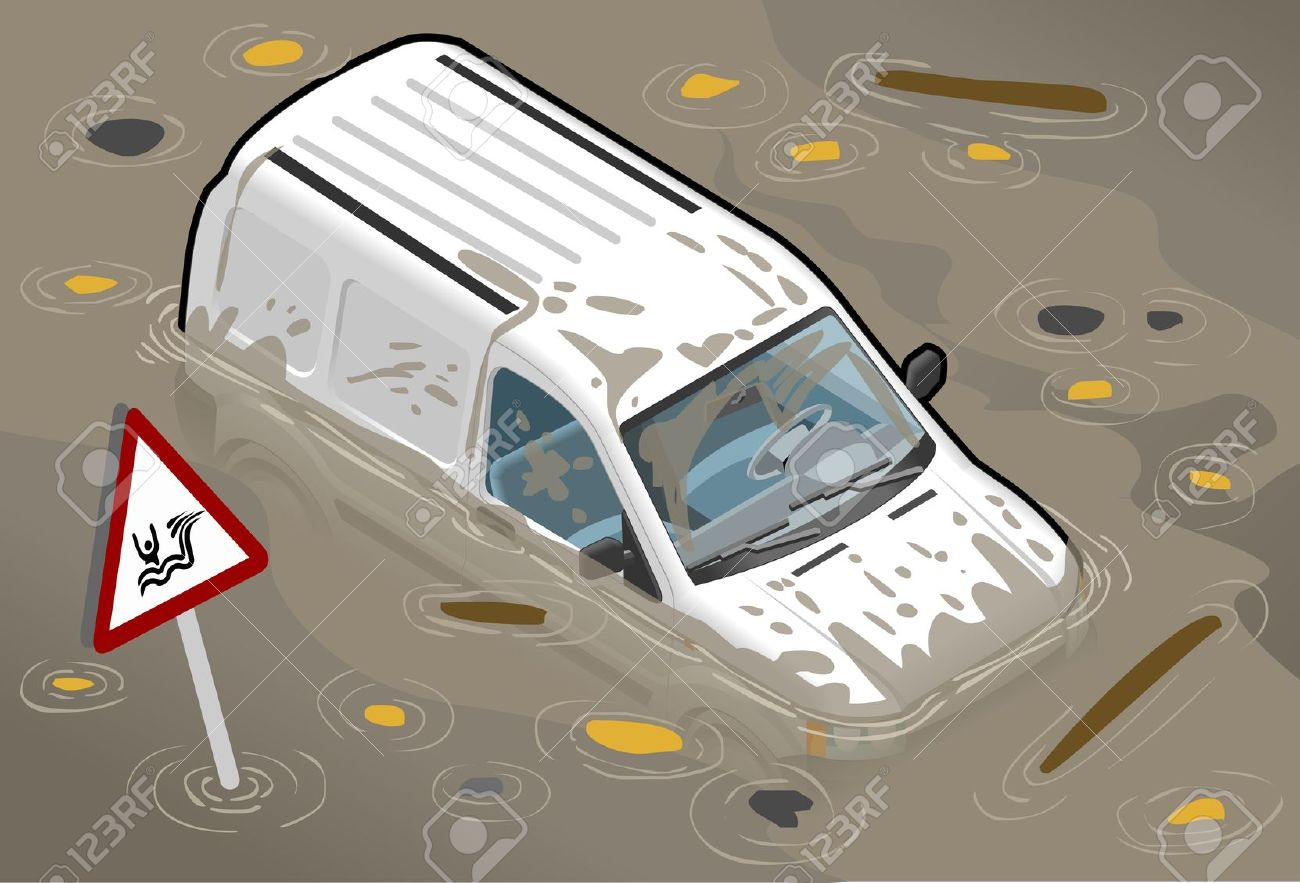 Isometric White Van Flooded In Front View Royalty Free Cliparts.