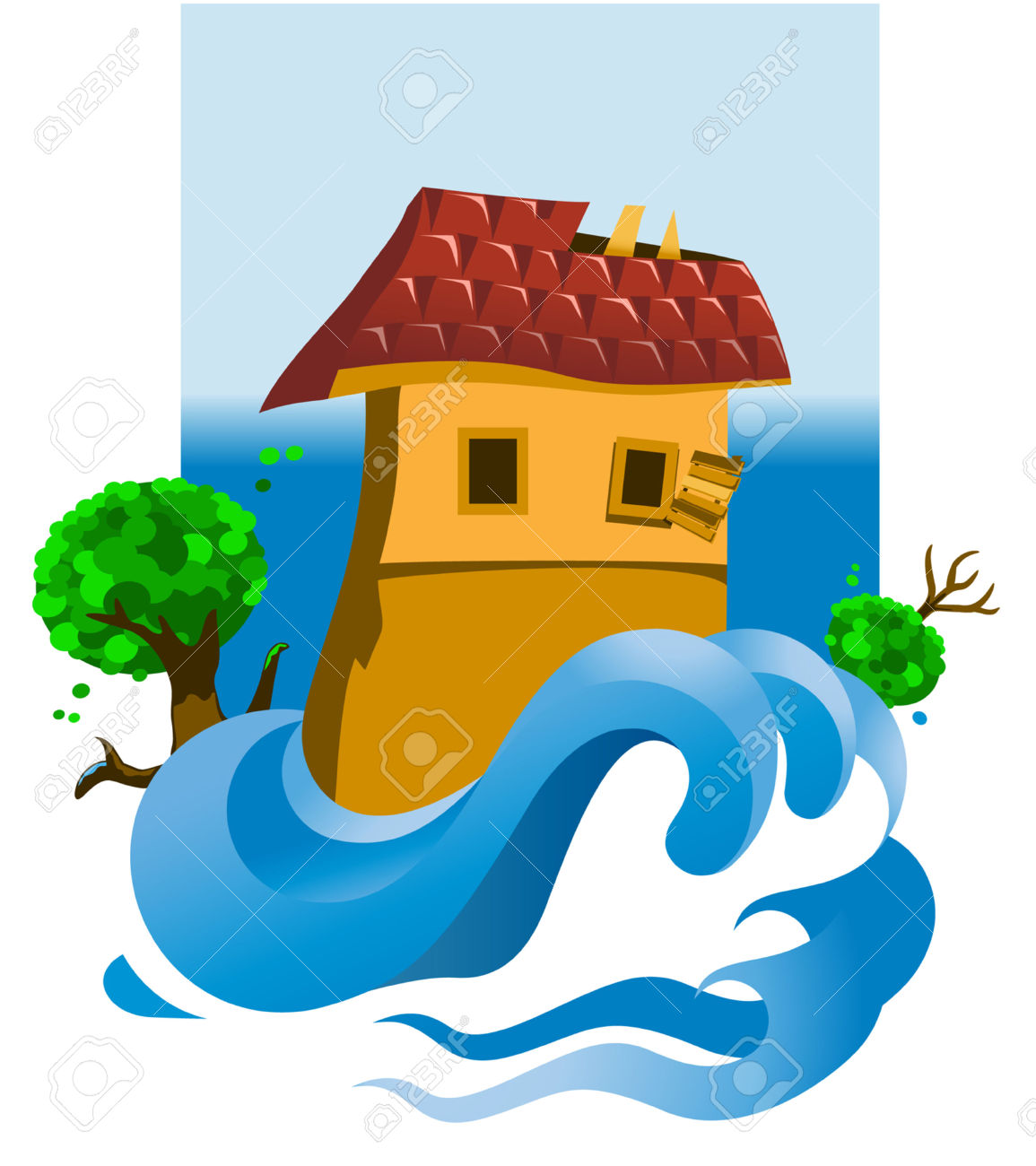 Illustration Of A Flooded House Royalty Free Cliparts, Vectors.