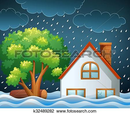 Clipart of Natural disaster scene of flooding k32489282.