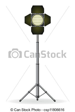 Vector Clip Art of movie floodlight vector illustration isolated.