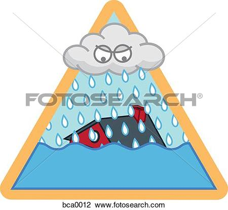 Clip Art of A flood storm bca0012.