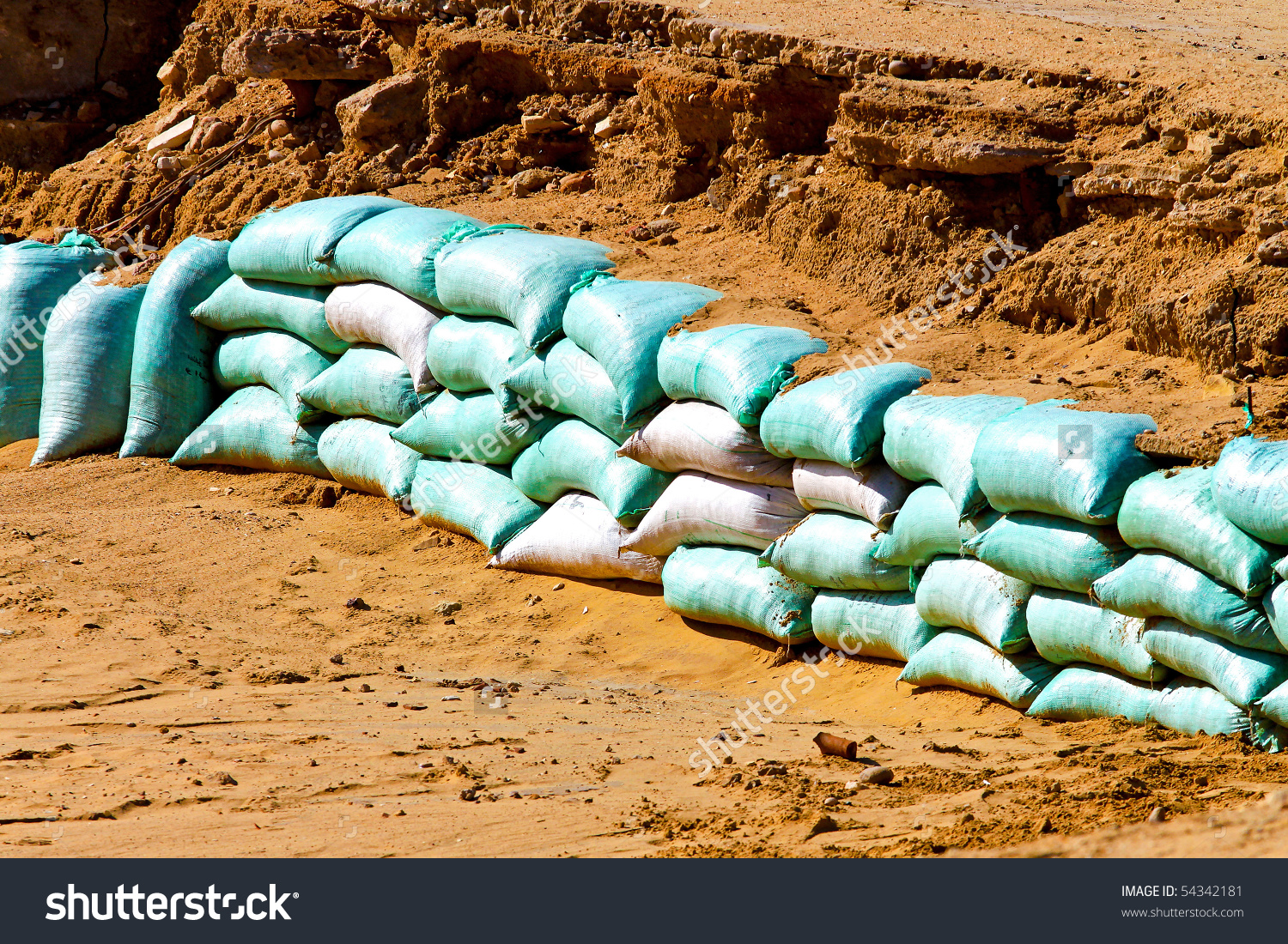 Sand Bags Barrier For Water Flood Protection Stock Photo 54342181.