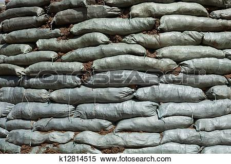 Stock Image of Sandbags for flood protection k12814515.