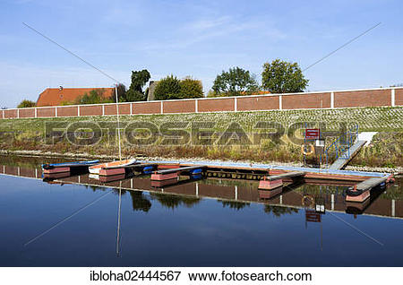 "Picture of ""Marina with a flood protection wall in Stiepelse, Amt."