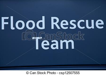 Stock Illustrations of Flood rescue team sign..