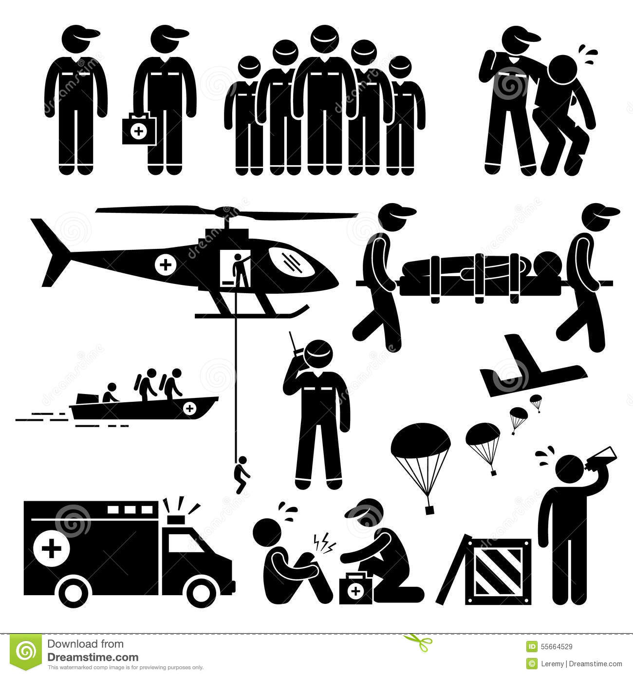 Emergency Rescue Team Clipart Stock Vector.
