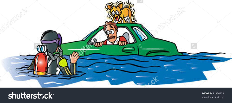 Car Flooded Stock Vector 21896752.