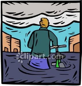 Walking His Bike Down a Flooded Street.