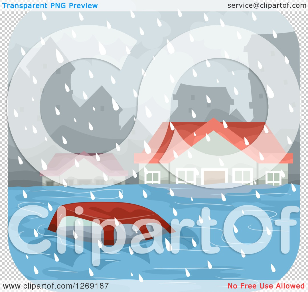 Clipart of a Car and Homes in a Flooded City.