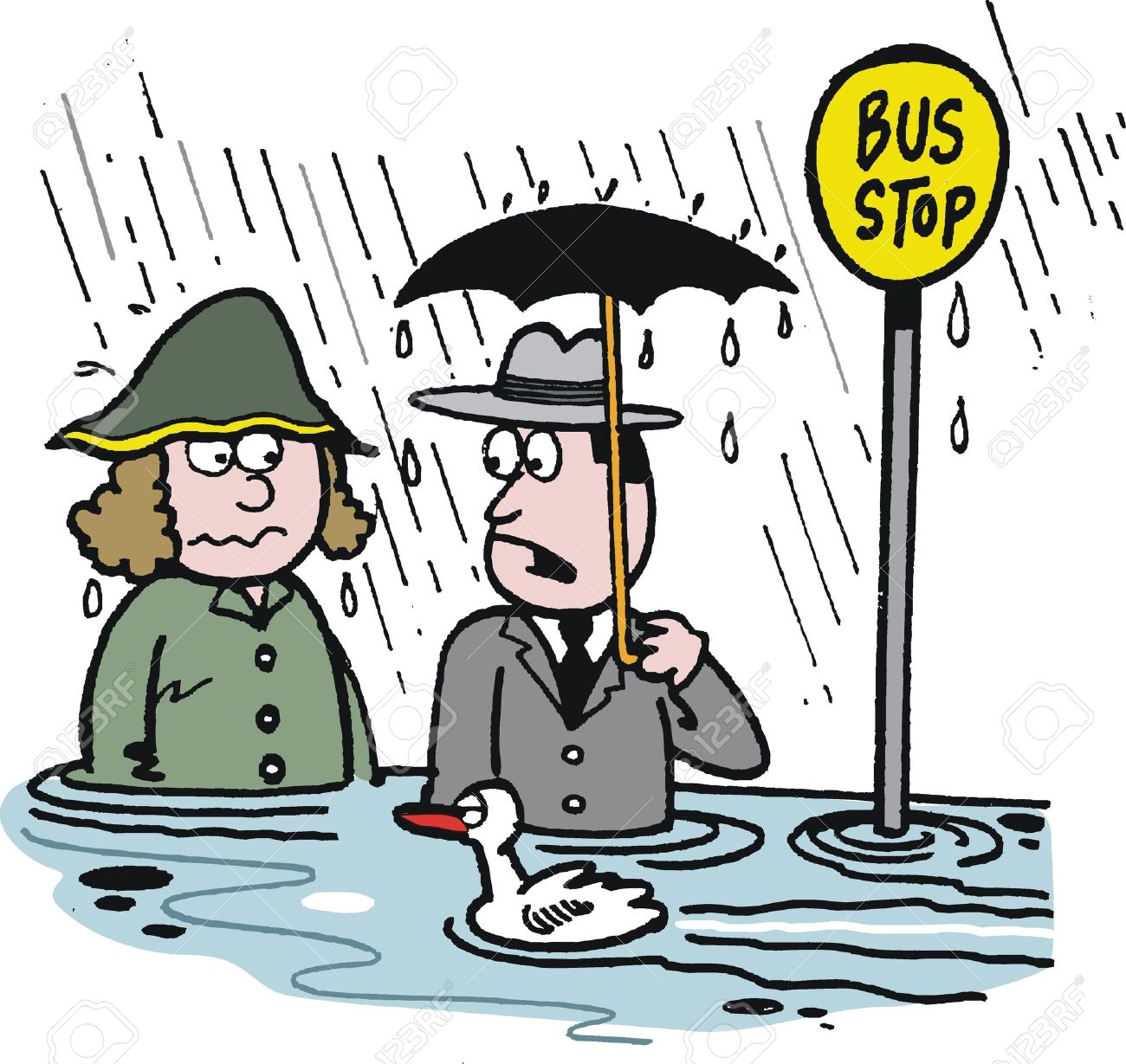 Cartoon Of Man And Woman At Flooded Bus Stop Royalty Free Cliparts.