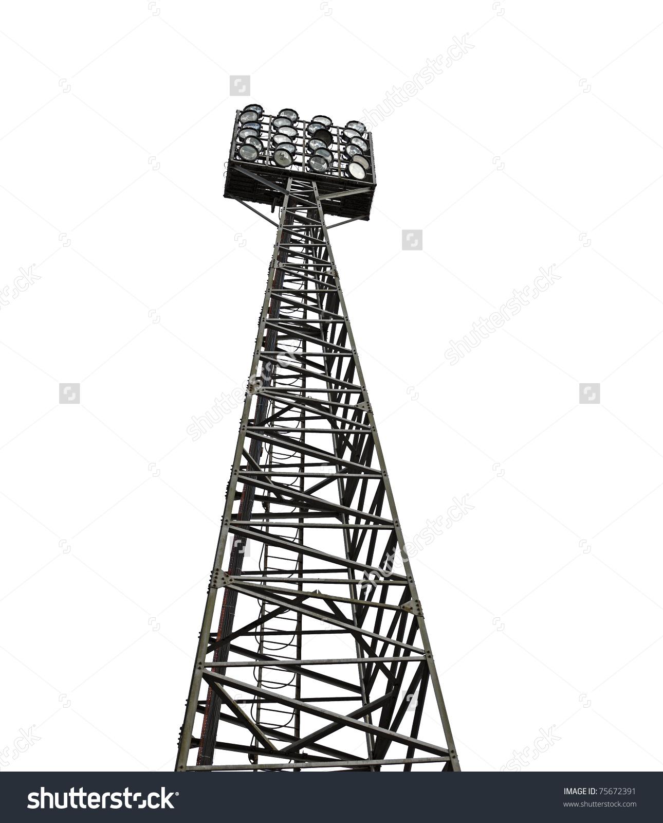 Stadium Floodlight Metal Tower Rows Halogen Stock Photo 75672391.