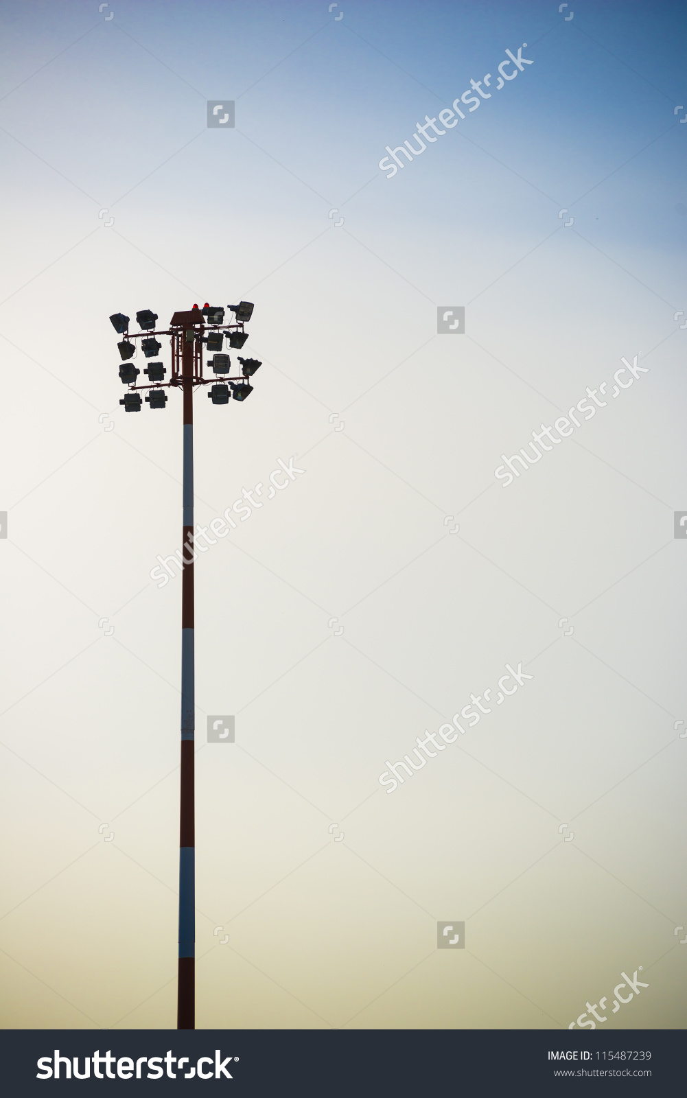 A Silhouette Of A Flood Light In The Morning Light. Stock Photo.