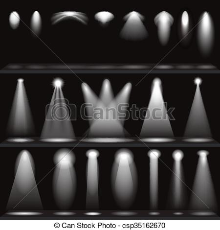 Vectors Illustration of Set of scene illuminations, spotlights.