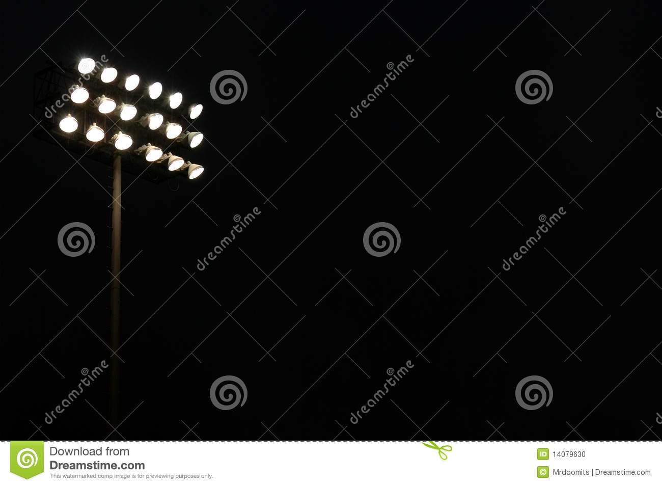 Sports Stadium Flood Lights Stock Photo.