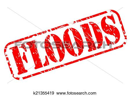 Clip Art of Floods red stamp text k21355419.