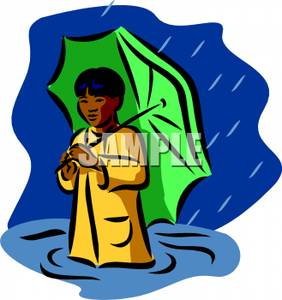 Image: A Child with an Umbrella In a Flood.